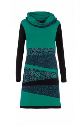 Dress, urban look with ethnic and casual, colorful pattern, long sleeves