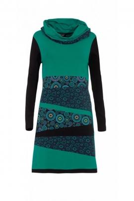 Robe look urbain ethnique et décontractée, motif coloré, manches longues