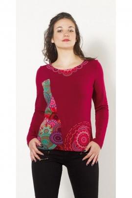 Tee-shirt original aux impressions rosaces colorées et manches longues