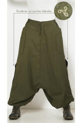 Sarouel homme coton poches brodées