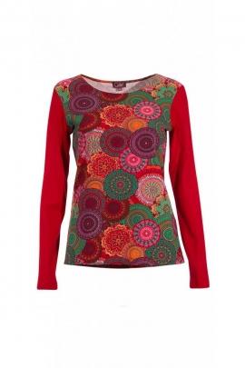 Tee-shirt original aux impressions mandalas colorées et manches longues