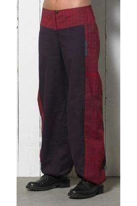 Pantalon bicolore bouffant en coton, léger et décontracté