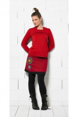 Tee-shirt ethnique au col original, manches longues, surpiqûres colorées et contrastantes