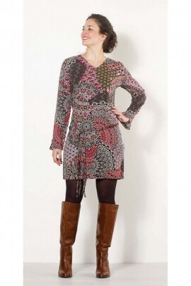 Dress ethnic fluid and hippie chic viscose, style chameleon