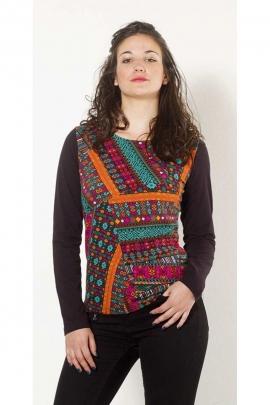 Tee-shirt original en coton pour femme, manches longues, imprimé gipsy