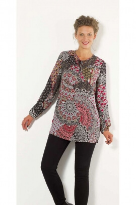 Tunic ethnic for small and large sizes in viscose, style chameleon