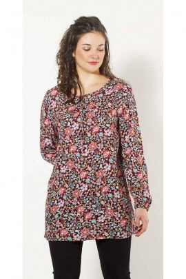 Tunic ethnic and original loose-fitting viscose, printed spring flowers