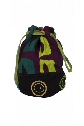 Bag purse cotton ethnic with lace-up closure