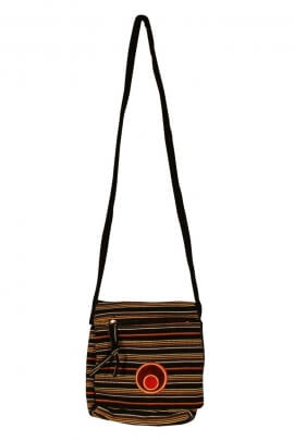 Sac gibecière shoulder strap, casual, cotton, with cockade colorful