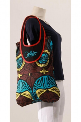 Bag cotton canvas, embroidered and printed, great brand, style, ethnic