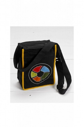 Sac gibecière ethnic shoulder strap, in cotton, with multicolored wheel