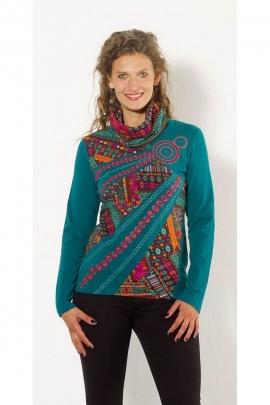 T-shirt étnica original de ancho de cuello alto y los impresos azteca colorido
