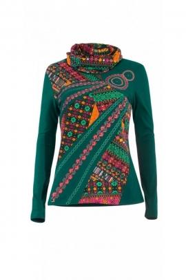 Tee-shirt ethnique original à large col roulé et imprimé aztèque coloré