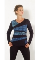Tee-shirt woman patchwork asymmetrical and colorful pattern