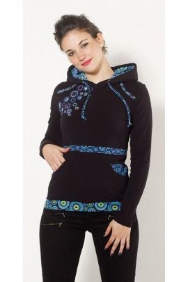 Tee-shirt doudou très doux et à capuche, en patchwork et impressions circulaires colorées