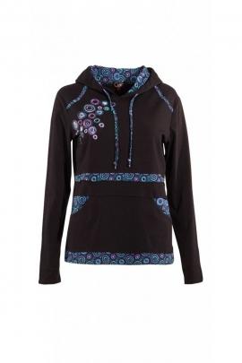T-camisa de manta es muy suave y con capucha, patchwork y circular impresiones de color