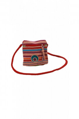 Bolso de embrague original y colorido de algodón a rayas