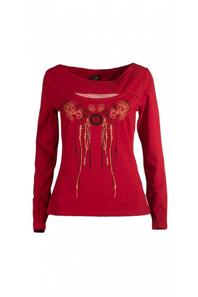 Camisetas étnica de manga larga, busto, elegante y original, en jersey de algodón
