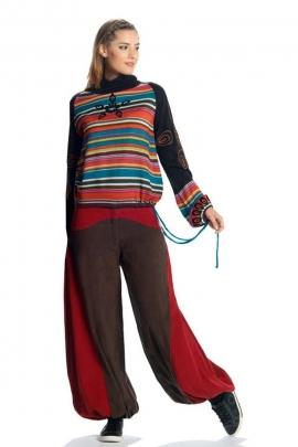 Baggy trousers for women, cotton velvet, cut Aladin