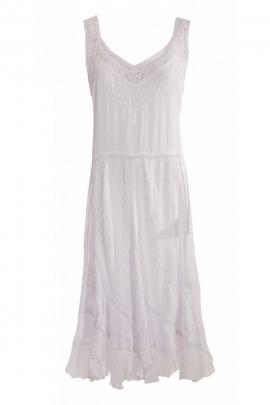 Robe romantique bohème, finition stone wash, à bretelles et brodée