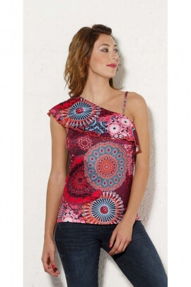 Camiseta tank top asimétrico, patrones, hipnótico, estilo casual