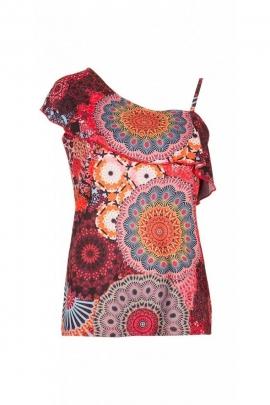 Tee-shirt débardeur asymétrique, motifs hypnotiques, style décontracté
