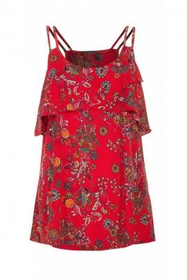 Tee-shirt ethnique original, à bretelles fines, tissu coloré et extensible