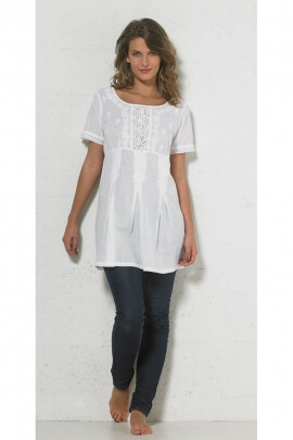 Tunic lightweight embroidered cotton white and short sleeves