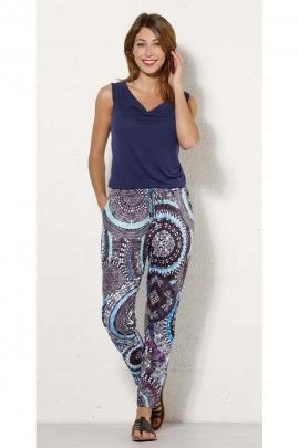 Pantalon original d'été, fluide et frais, motifs ethniques