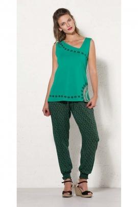 Pantalon original pour l'été, en viscose, confortable avec chevilles élastiquées