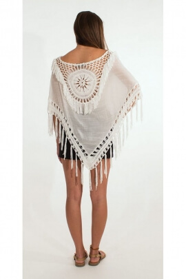 Poncho seventies original and chic, embroidery, crochet, neckline and edging, openwork