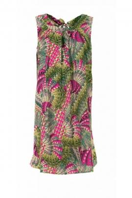 Robe d'été originale, ample et hippie chic, motif oiseaux colorés