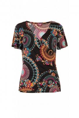 T-shirt casual y original, mangas cortas, quemado, hermoso escote