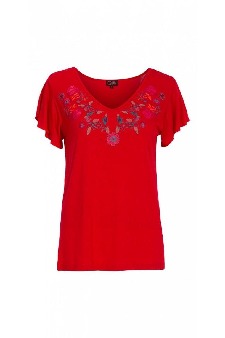 top fluide rouge tee-shirt coton blouse bohème