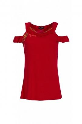 Camiseta original off-hombro, correa de hombro doble, bohemio tendencia