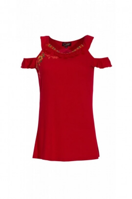 Tee-shirt original off-shoulder, dual shoulder strap, bohemian trend