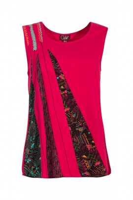 T-shirt tank top original and laid-back, patchwork of dynamic ethnic and