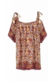 Tunic sari ethnic, loose-fitting with thin straps, indian motifs colored