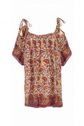 Tunique sari ethnique, ample avec de fines bretelles, motifs indiens colorés