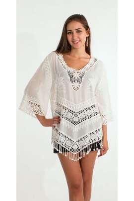 White blouse romantic embroidery English crochet