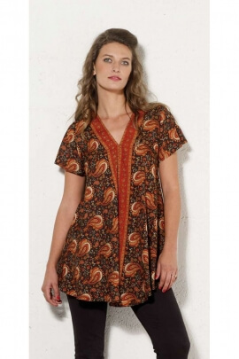 Blouse tunic loose fitting indian-style and hippie chic, colorful sari, V-neck collar