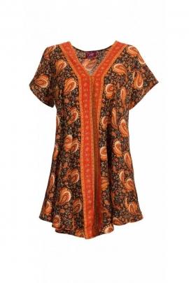 Chemisier tunique ample de style indien et hippie chic, sari coloré, col V