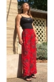 Trousers ethnic wide, viscose, printed rock colorful