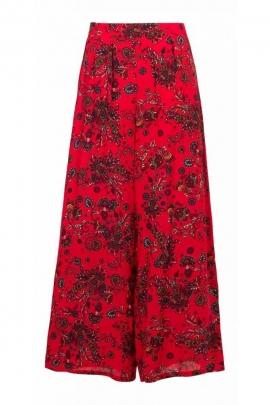 Pantalon ethnique large, en viscose, imprimé rock coloré