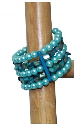 Bracelet pierres et plastique large