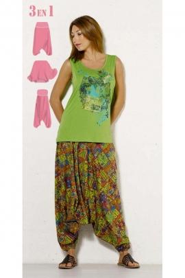 Sarouel 3en1 original et coloré, style baba cool, imprimé Tamil
