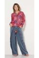 Pants indian stone wash, tucks in aztec and lace-up, chic and casual