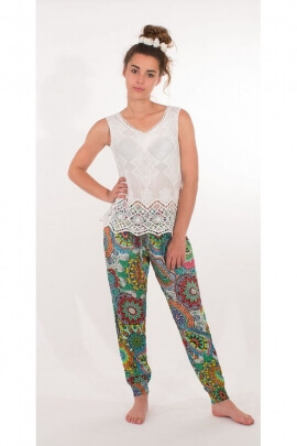Pants single cup viscose at the bottom smocké, printed Baobab original