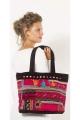 Grand sac cabas en velours original, sac bohème coloré