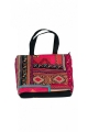 Large shopping bag in velvet original bag bohemian colorful